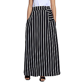Women's Casual / Daily Basic Boho Maxi Skirts Striped Patchwork