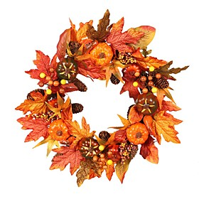 22 Fall Wreath Artificial Yellow and Red Leaves Door Wreath,Pumpkin Berries Maple Leaves Wreath Garland,for Home Front Door Mall for Autumn Halloween Thanksgiv