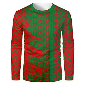 Men's Christmas T-shirt 3D Graphic Letter Long Sleeve Tops Basic Round Neck Green / Red