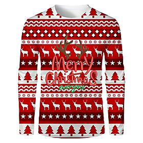 Men's Christmas T-shirt 3D Graphic Letter Long Sleeve Tops Basic Round Neck Red / White