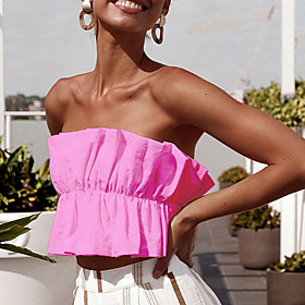Women's Bandeau Solid Colored Pleated Strapless Tops Slim Sexy Streetwear Basic Top White Black Red / Crop