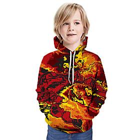 Kids Boys' Active Basic Color Block 3D Graphic Print Long Sleeve Hoodie  Sweatshirt Yellow