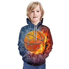 Kids Boys' Active Basic Color Block 3D Paisley Print Long Sleeve Hoodie  Sweatshirt Blue