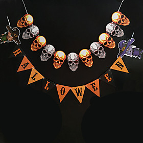 1pc Halloween Decorations Halloween Entertaining / Decorative Objects Holiday Decorations Party Garden Skull Pull Flag Spider Witch Alphabet Banner Wedding Dec