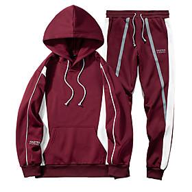 Men's Daily Activewear Set Color Block Casual Streetwear Hoodies Sweatshirts  Long Sleeve Black Red