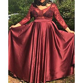 A-Line Luxurious Sexy Wedding Guest Formal Evening Dress V Neck 3/4 Length Sleeve Floor Length Satin with Pleats 2020