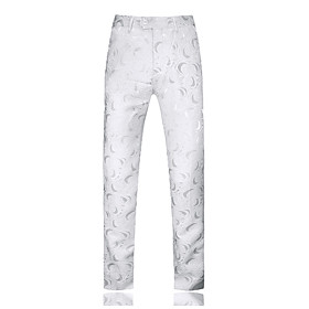 Men's Basic Daily Weekend Slim Chinos Pants Print White Black 36 38 29