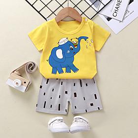 Kids Boys' Basic Daily Cartoon Print Short Sleeve Regular Clothing Set Yellow