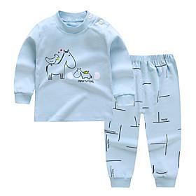 Kids Boys' Basic Daily Cartoon Letter Print Long Sleeve Regular Clothing Set Light Blue