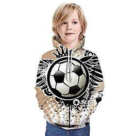 Kids Boys' Active Basic Color Block 3D Graphic Print Long Sleeve Hoodie  Sweatshirt Khaki