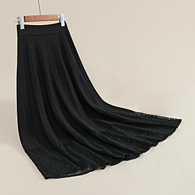 Women's Basic Midi Skirts Solid Colored Pleated Lace Trims / Loose