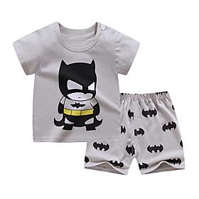 Kids Boys' Basic Daily Cartoon Print Short Sleeve Regular Clothing Set Gray