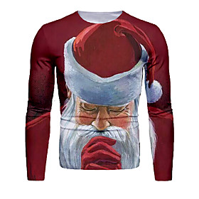Men's Christmas T-shirt 3D Graphic Long Sleeve Tops Basic Round Neck Red / White