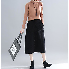 Women's Casual / Daily Basic Corduroy Midi Skirts Solid Colored / Loose