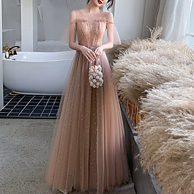 A-Line Elegant Glittering Wedding Guest Prom Dress Illusion Neck Short Sleeve Floor Length Tulle with Pleats Sequin 2020