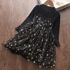 Kids Girls' Basic Black Geometric Print Long Sleeve Above Knee Dress Black