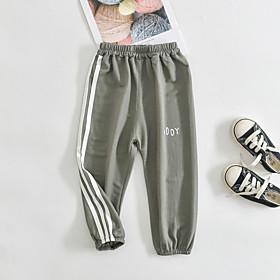 Kids Boys' Basic Striped Letter Pants White