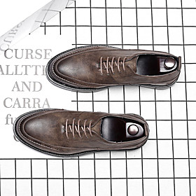Men's Oxfords Business / Casual Daily Walking Shoes PU Non-slipping Wear Proof Black / Brown / Gray Spring / Fall