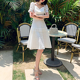 A-Line Elegant Minimalist Homecoming Cocktail Party Dress Sweetheart Neckline Short Sleeve Knee Length Lace with Embroidery 2020