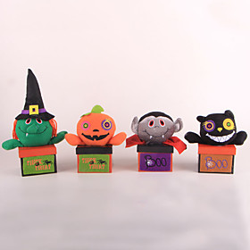 Halloween Party Toys Candy Jar 4 pcs Pumpkin Bat Witch Vampire Fabrics Adults Trick or Treat Halloween Party Favors Supplies