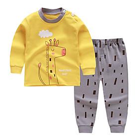 Kids Boys' Basic Daily Cartoon Print Long Sleeve Regular Clothing Set Yellow