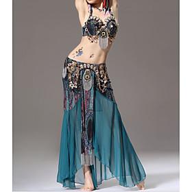 Belly Dance Skirts Sash / Ribbon Ruffles Split Women's Training Performance Sleeveless Dropped Polyester
