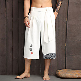 Men's Chinoiserie Daily Home Wide Leg Pants Patterned Black White Embroidered Drawstring Breathable White Black Navy Blue L XL XXL