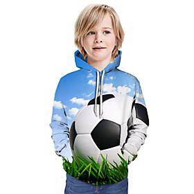 Kids Boys' Active Basic Color Block 3D Graphic Print Long Sleeve Hoodie  Sweatshirt Light Blue