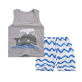 Kids Boys' Basic Daily Cartoon Print Sleeveless Regular Regular Clothing Set Gray
