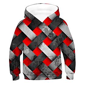 Kids Boys' Active Basic Color Block 3D Long Sleeve Hoodie  Sweatshirt Red