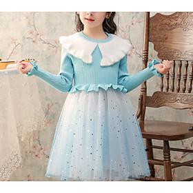 Kids Girls' Basic Blue Solid Colored Mesh Long Sleeve Knee-length Dress Light Blue