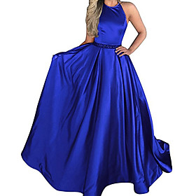 A-Line Minimalist Sexy Wedding Guest Formal Evening Dress Halter Neck Sleeveless Sweep / Brush Train Stretch Satin with Pleats 2020