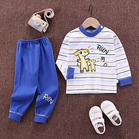 Kids Boys' Basic Daily Cartoon Letter Print Long Sleeve Regular Clothing Set Royal Blue