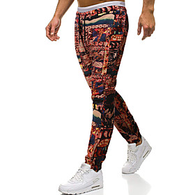 Men's Chinoiserie Folk Style Daily Home Sweatpants Pants Patterned Geometric Pattern Black  Red Sun Flower Baggy Drawstring Outdoor Red Gold Green S M L