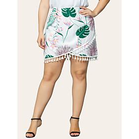 Women's Casual / Daily Basic Above Knee Skirts Floral Tassel Fringe