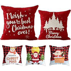 1 Set of 5 pcs Christmas Series Decorative Linen Throw Pillow Cover 18 x 18 inches 45 x 45cm For Home Decoration Christmas Decoration