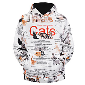Men's Daily Pullover Hoodie Sweatshirt 3D Graphic Animal Hooded Basic Hoodies Sweatshirts  Long Sleeve White