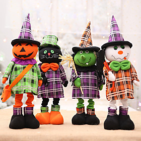 Halloween Party Toys Halloween Fabric Doll Cat Skull Skeleton Ghost Flexible Iron Cotton Kid's Adults Trick or Treat Halloween Party Favors Supplies