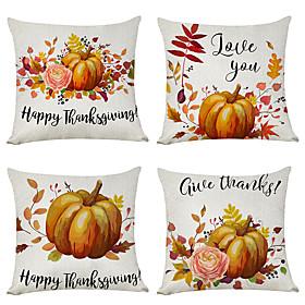 1 Set of 4 pcs Thanksgiving Series Autumn Pumpkin Decorative Linen Throw Pillow Cover 18 x 18 inches 45 x 45cm For Home Decoration Christmas Decoration