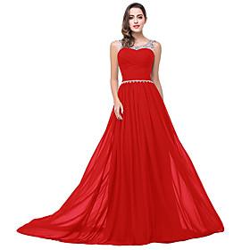 A-Line Elegant Minimalist Wedding Guest Formal Evening Dress Illusion Neck Sleeveless Sweep / Brush Train Chiffon with Pleats Crystals 2020