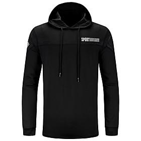 Men's Daily Pullover Hoodie Sweatshirt Solid Color Monograms Hooded Basic Hoodies Sweatshirts  Long Sleeve Black Light gray Dark Gray / Sports