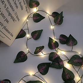 2.4M 30LEDs New Purple Leaf Vine LED String Lights AA Battery Operated  Fairy Lights Family Party Wedding Valentine's Day Garden Balcony Decoration Lights