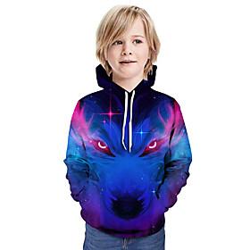Kids Boys' Active Basic 3D Animal Print Long Sleeve Hoodie  Sweatshirt Blue