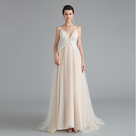 A-Line Beautiful Back Sexy Wedding Guest Formal Evening Dress V Neck Sleeveless Sweep / Brush Train Lace Tulle with Beading 2020