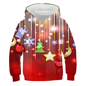 Kids Boys' Active Basic 3D Graphic Christmas Print Long Sleeve Hoodie  Sweatshirt Red