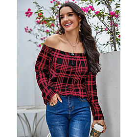Women's Blouse Shirt Abstract Long Sleeve Button Off Shoulder Tops Basic Basic Top Red
