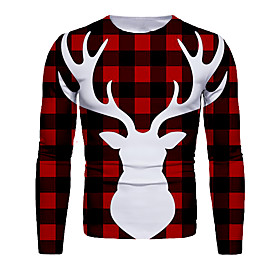 Men's Christmas T-shirt Color Block 3D Graphic Long Sleeve Tops Basic Round Neck Black / Red