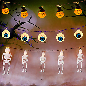 Halloween Lights Pumpkin String Lights Spider Ghost Eyeball Skeleton Palm Festival Party Holiday Halloween Decoration Supply LED Toys without Battery