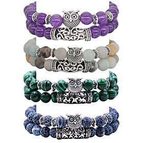 2pcs Women's Bead Bracelet Friendship Bracelet Wrap Bracelet Beads Owl Simple Luxury Ethnic Fashion Boho Stone Bracelet Jewelry White / Black / Blue For Gift F