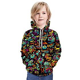 Kids Boys' Active Basic 3D Graphic Print Long Sleeve Hoodie  Sweatshirt Rainbow